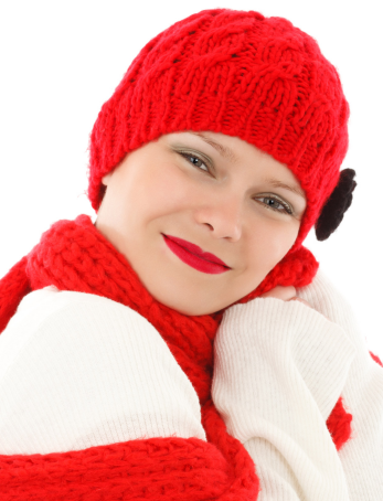 winter wardrobe red scarf and red hat